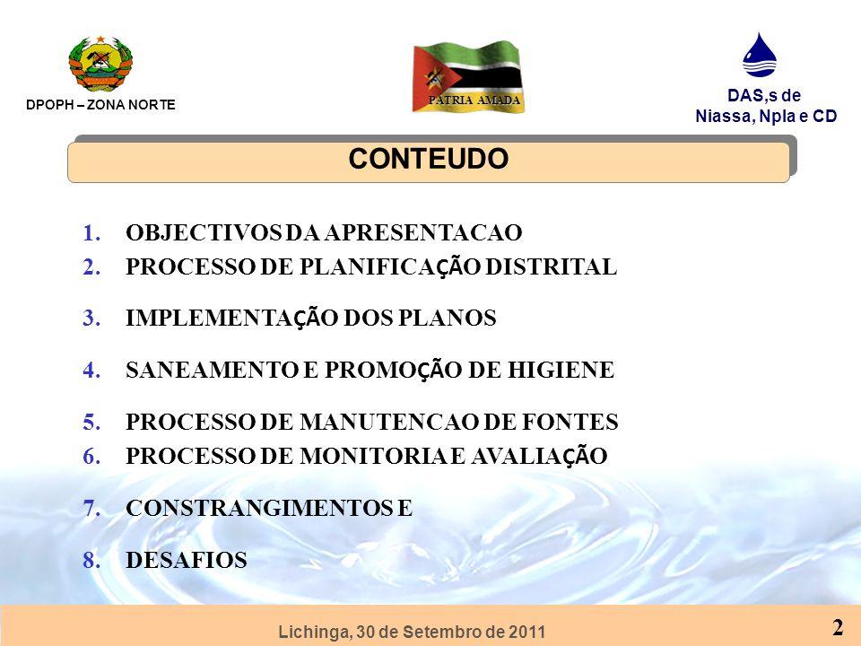 CONTEUDO OBJECTIVOS DA APRESENTACAO PROCESSO DE PLANIFICAÇÃO DISTRITAL