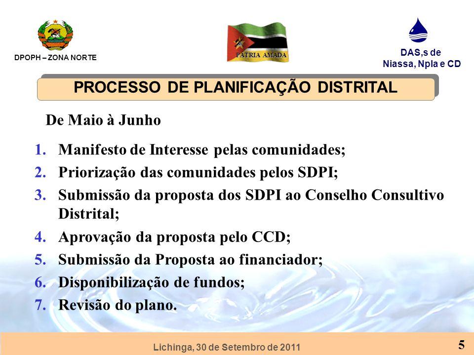 PROCESSO DE PLANIFICAÇÃO DISTRITAL