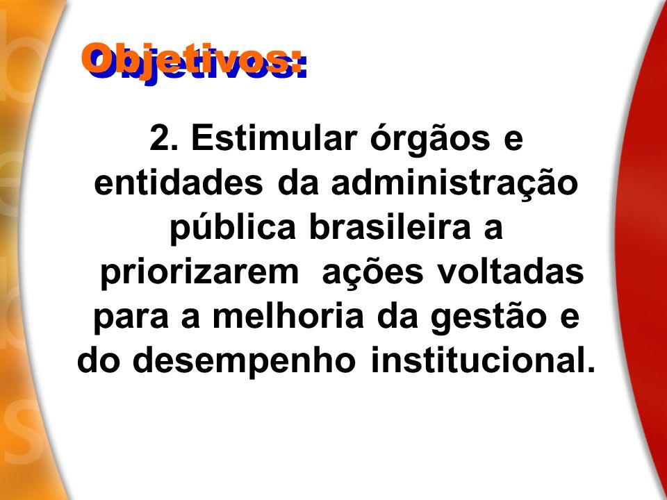 Objetivos: 2. Estimular órgãos e entidades da administração