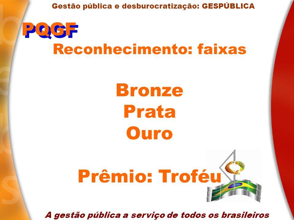 PQGF Bronze Prata Ouro Prêmio: Troféu Reconhecimento: faixas