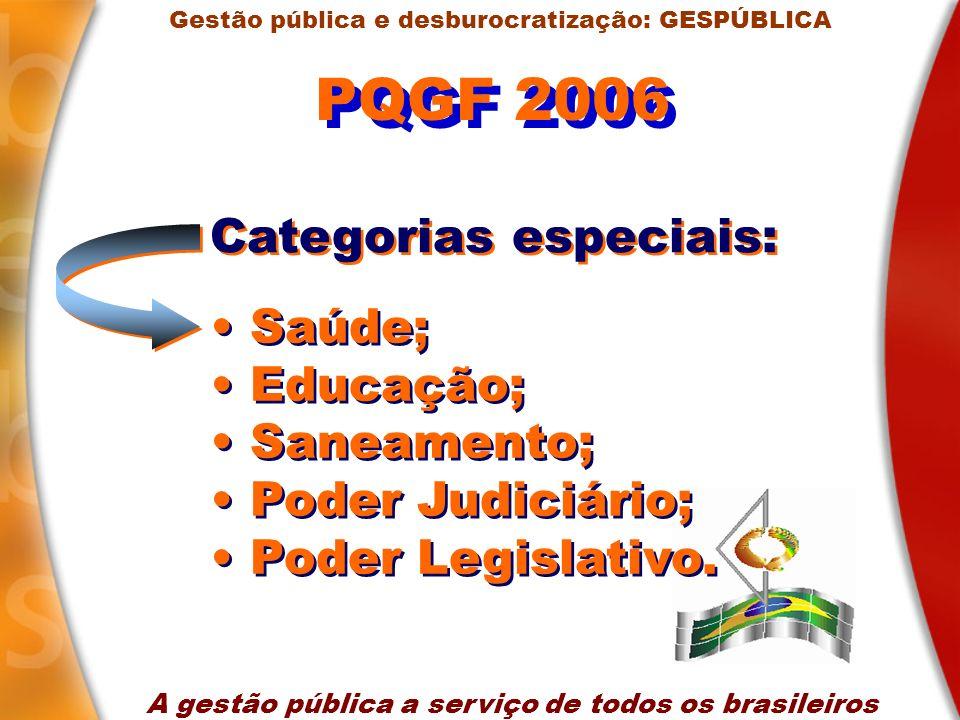 PQGF 2006 Categorias especiais: Saúde; Educação; Saneamento;