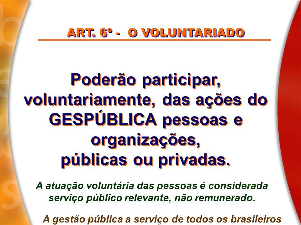 voluntariamente, das ações do GESPÚBLICA pessoas e organizações,