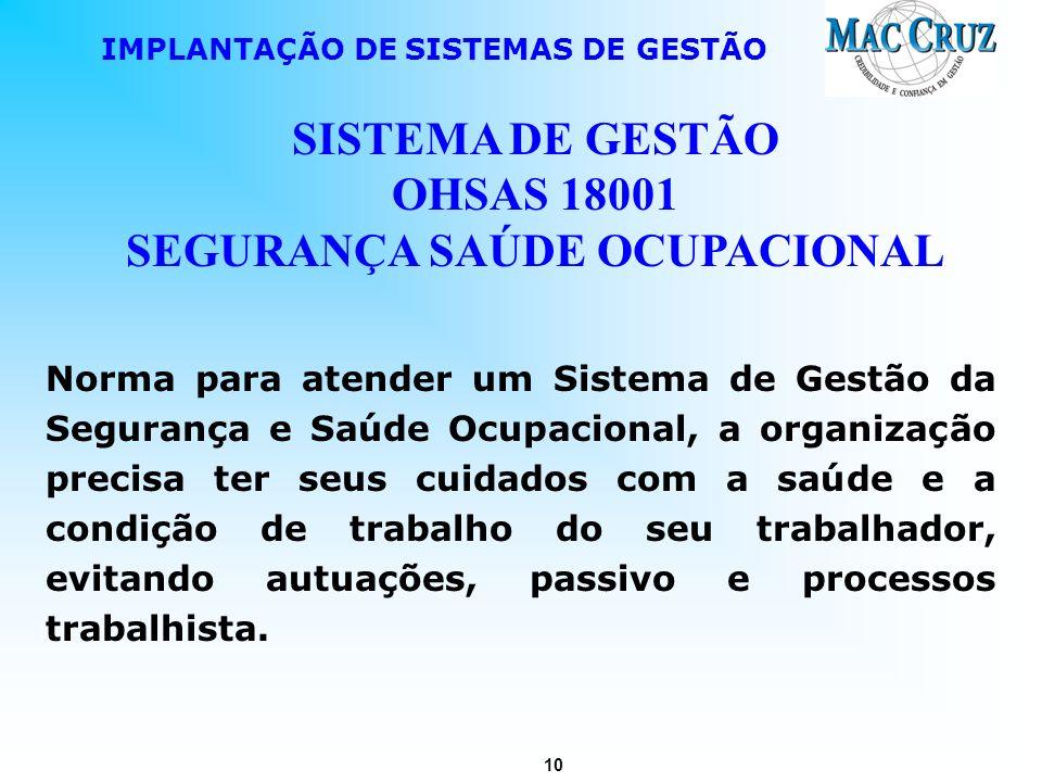 SISTEMA DE GESTÃO OHSAS 18001 SEGURANÇA SAÚDE OCUPACIONAL