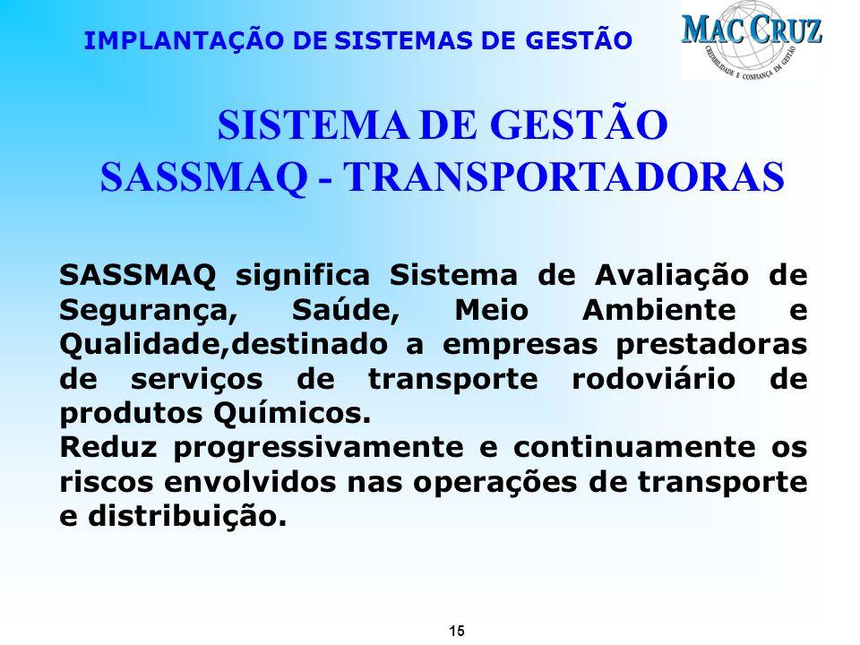 SISTEMA DE GESTÃO SASSMAQ - TRANSPORTADORAS
