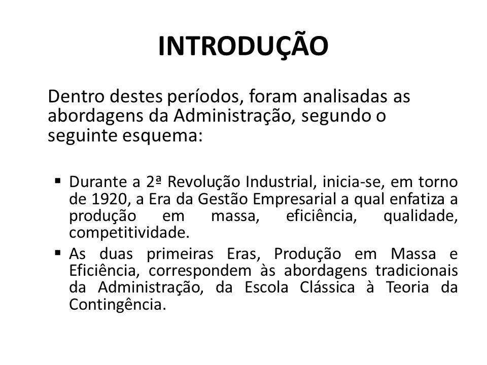 INTRODUÇÃO Dentro destes períodos, foram analisadas as abordagens da Administração, segundo o seguinte esquema: