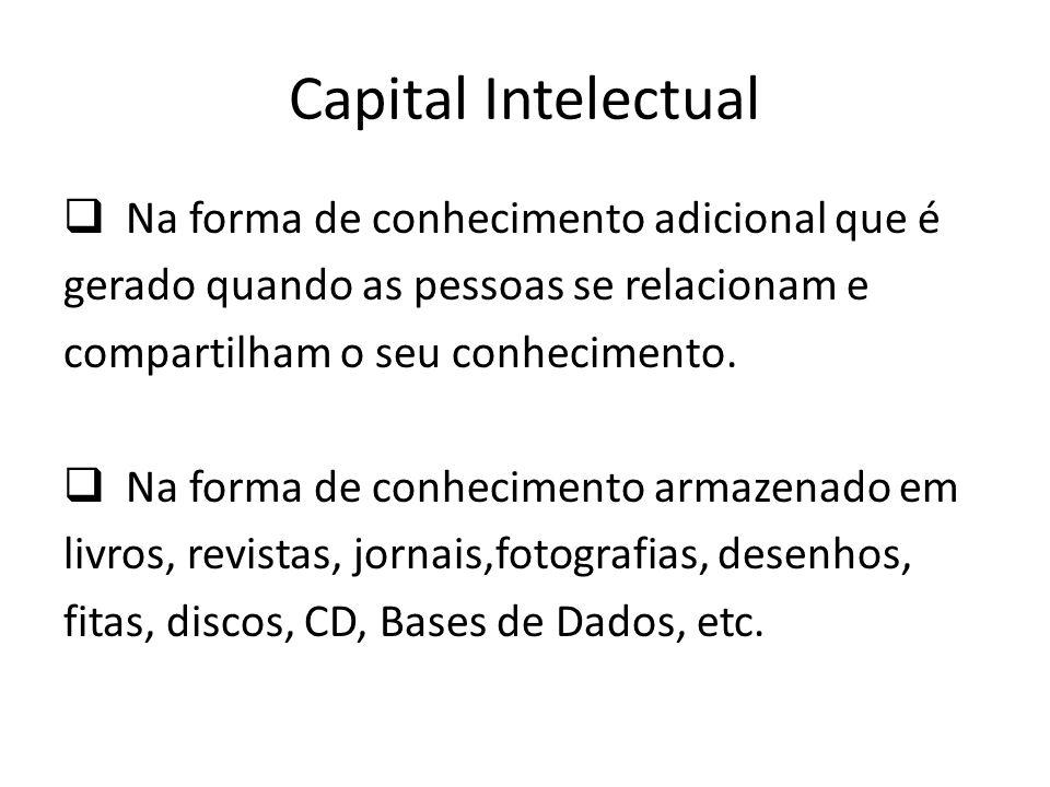 Capital Intelectual Na forma de conhecimento adicional que é