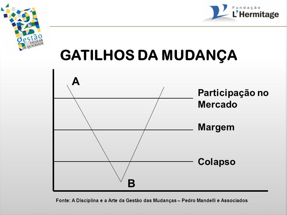 GATILHOS DA MUDANÇA A B Participação no Mercado Margem Colapso