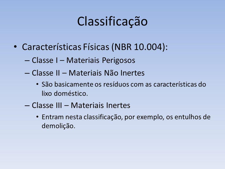 Classificação Características Físicas (NBR 10.004):