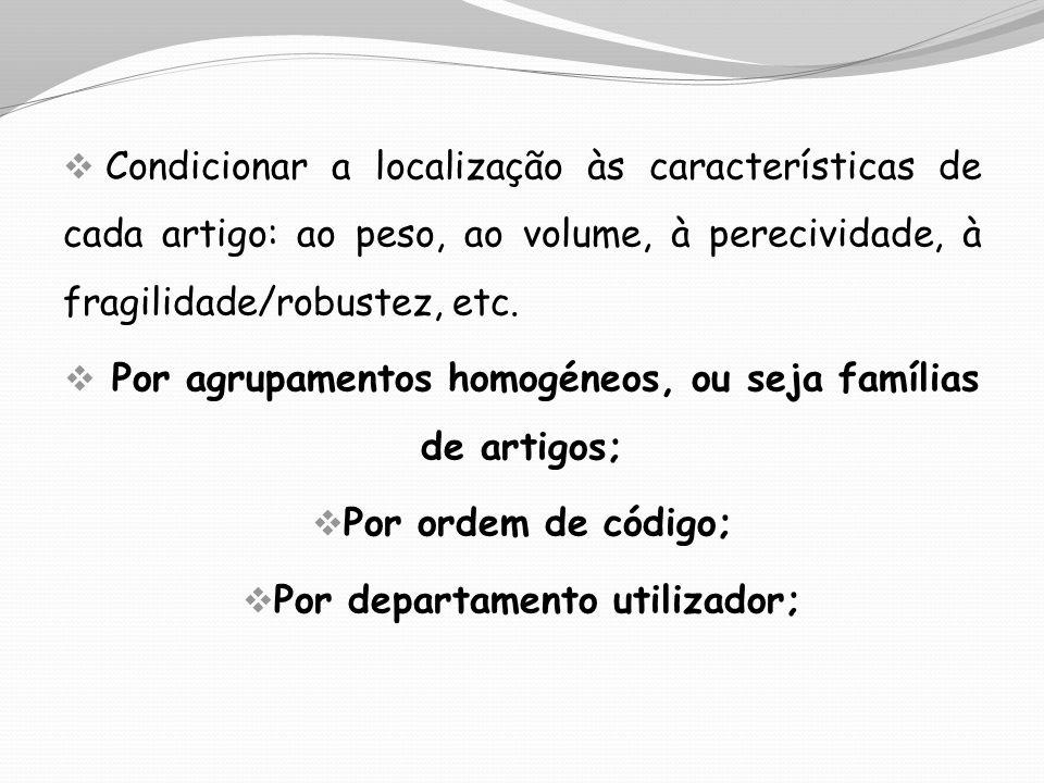 Por agrupamentos homogéneos, ou seja famílias de artigos;