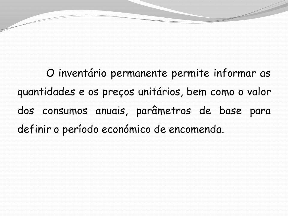 O inventário permanente permite informar as quantidades e os preços unitários, bem como o valor dos consumos anuais, parâmetros de base para definir o período económico de encomenda.
