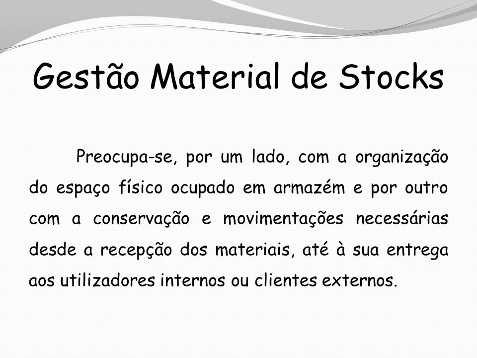 Gestão Material de Stocks