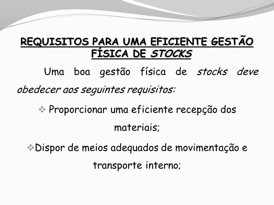 REQUISITOS PARA UMA EFICIENTE GESTÃO FÍSICA DE STOCKS