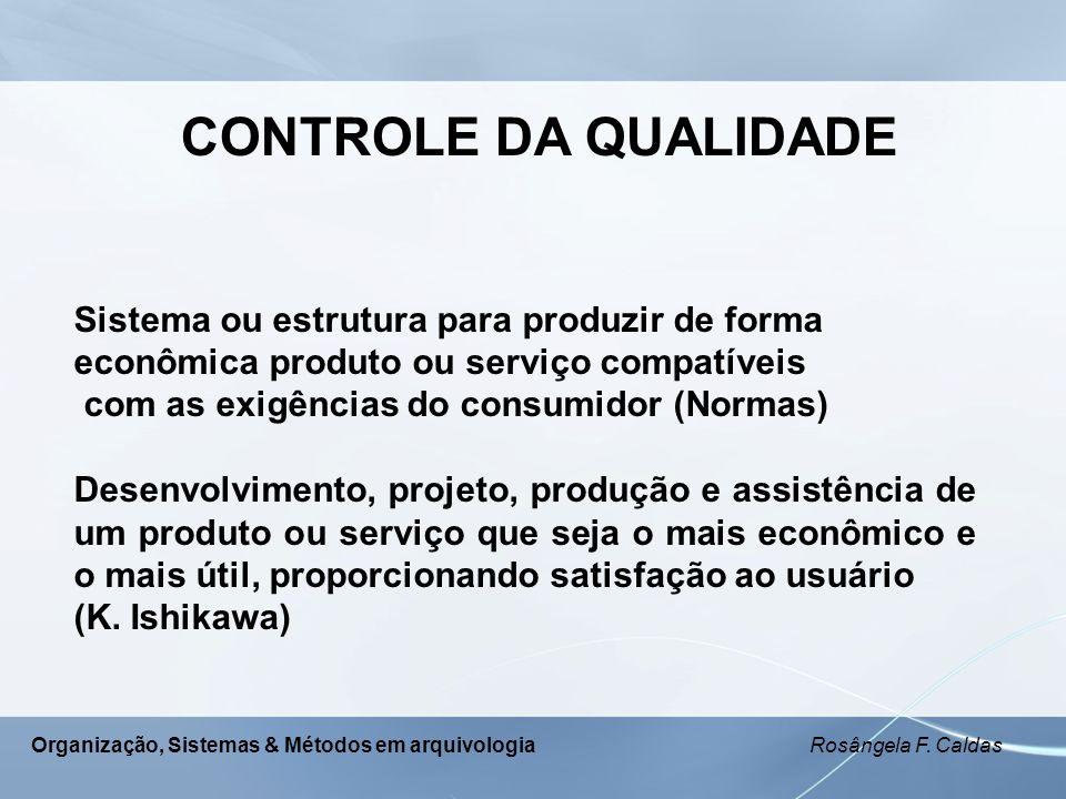 CONTROLE DA QUALIDADE Sistema ou estrutura para produzir de forma
