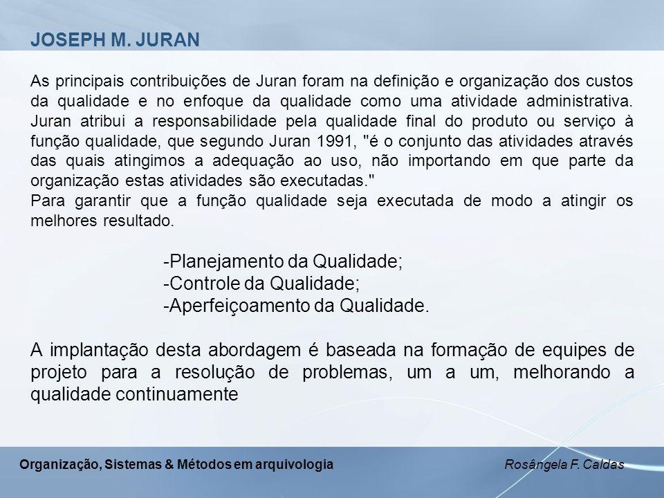 -Planejamento da Qualidade; -Controle da Qualidade;