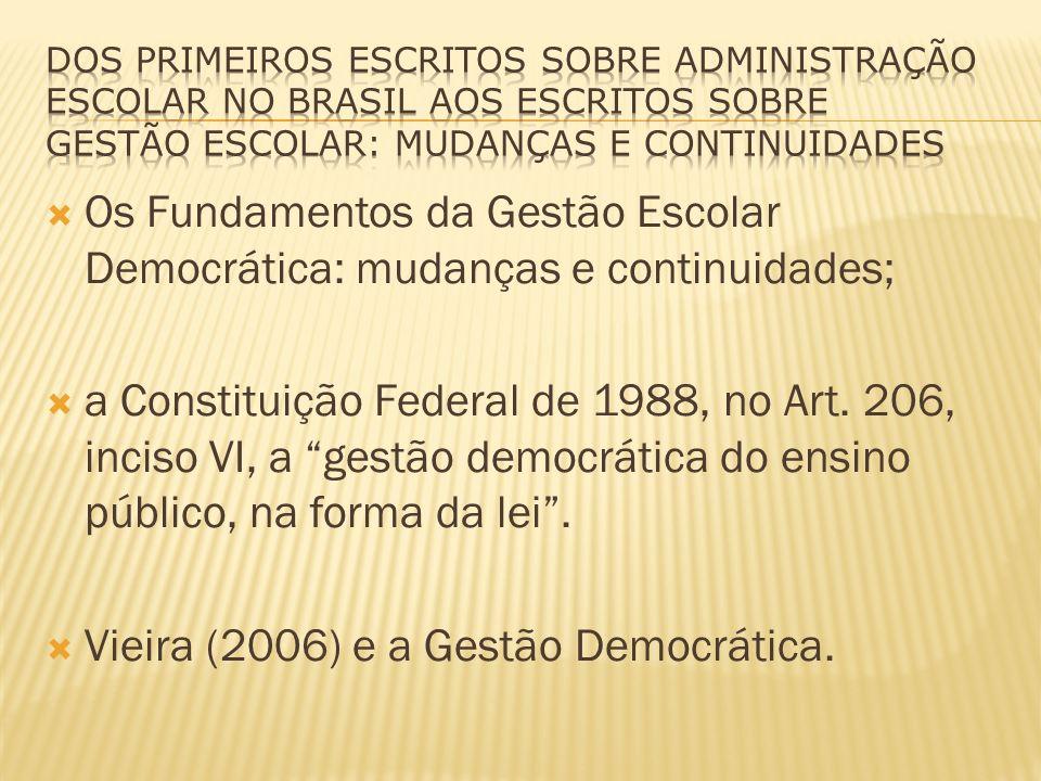 Vieira (2006) e a Gestão Democrática.
