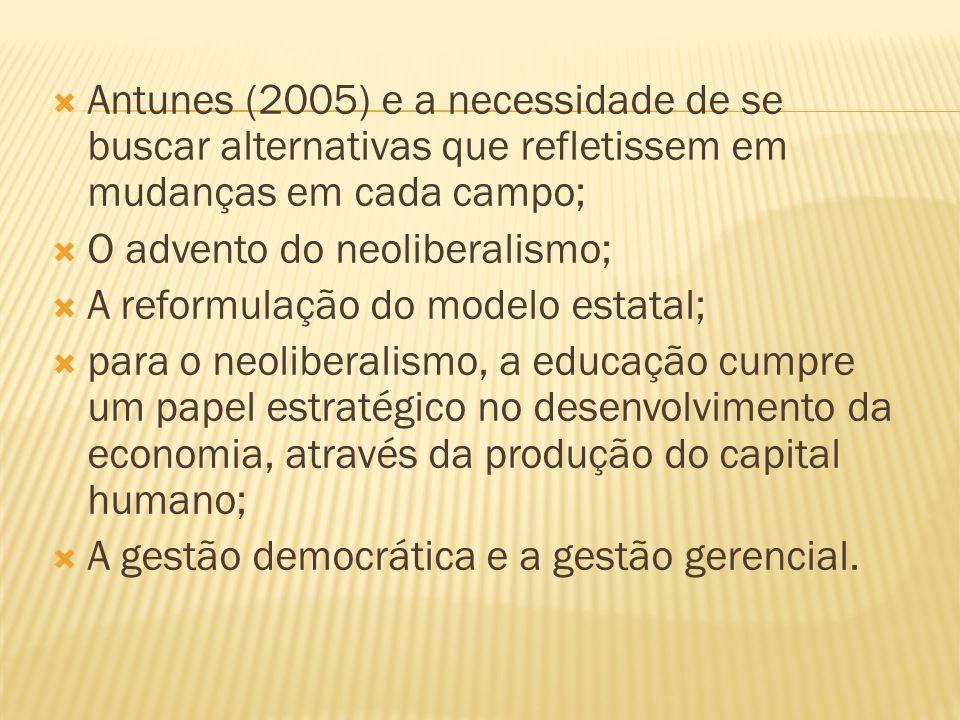 Antunes (2005) e a necessidade de se buscar alternativas que refletissem em mudanças em cada campo;
