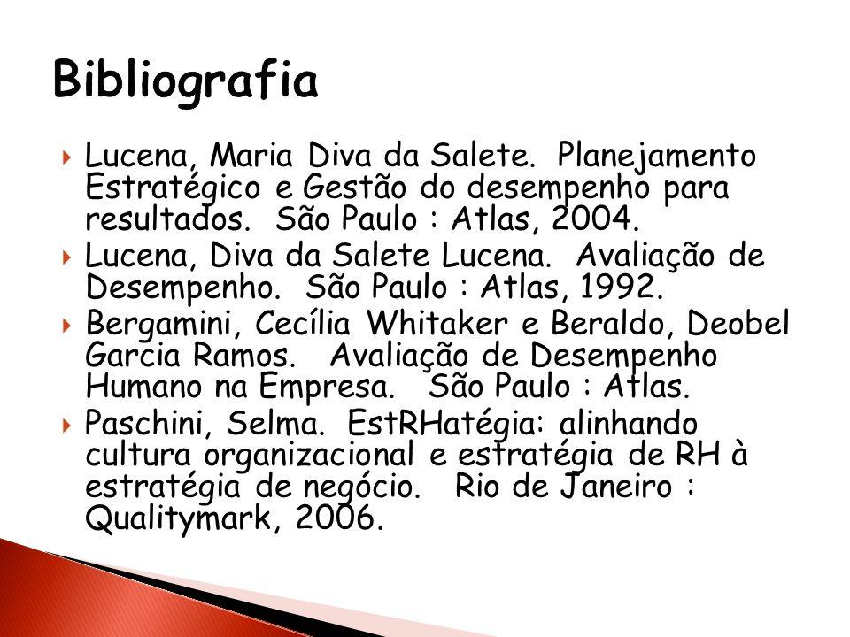 Bibliografia Lucena, Maria Diva da Salete. Planejamento Estratégico e Gestão do desempenho para resultados. São Paulo : Atlas, 2004.