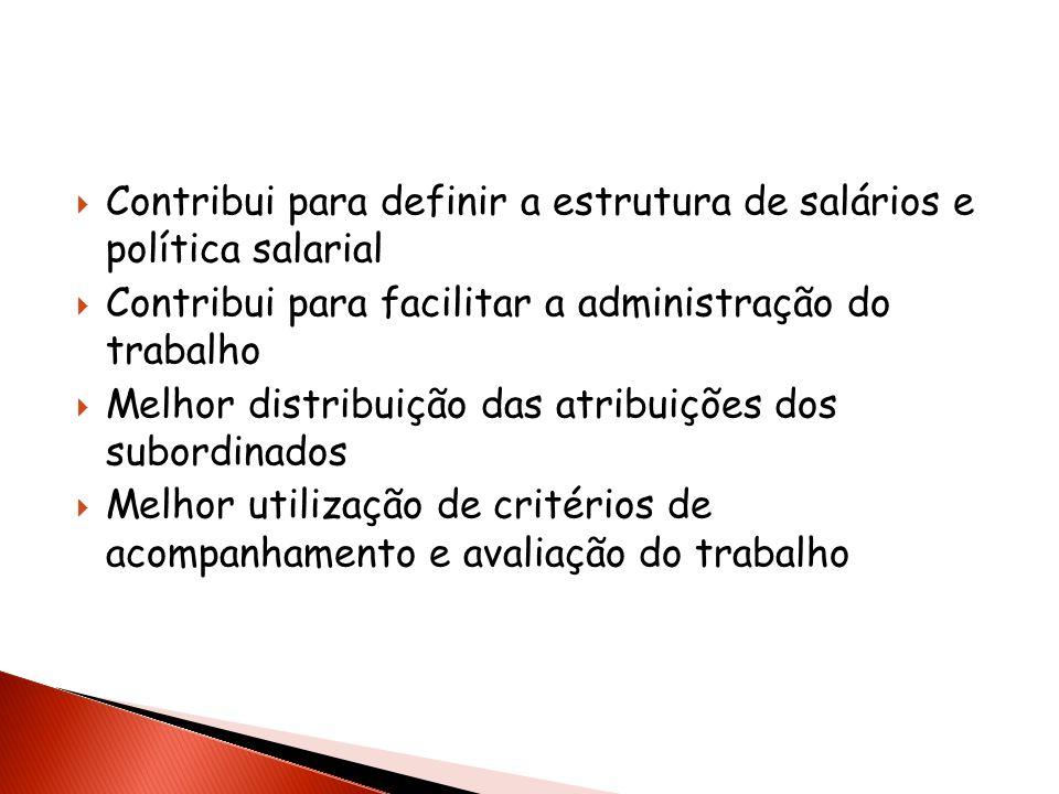 Contribui para definir a estrutura de salários e política salarial