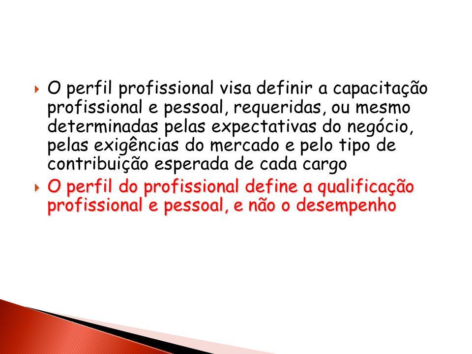 O perfil profissional visa definir a capacitação profissional e pessoal, requeridas, ou mesmo determinadas pelas expectativas do negócio, pelas exigências do mercado e pelo tipo de contribuição esperada de cada cargo