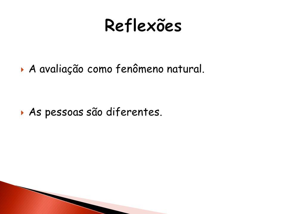 Reflexões A avaliação como fenômeno natural.