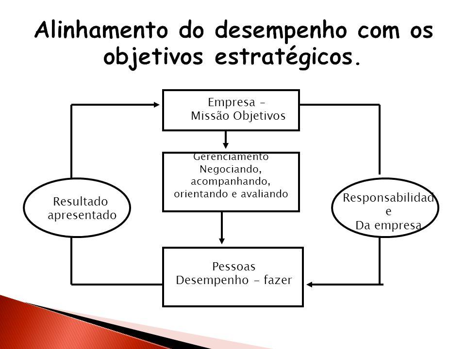 Alinhamento do desempenho com os objetivos estratégicos.