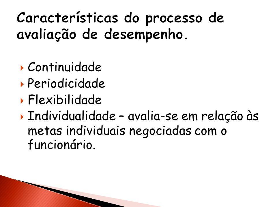Características do processo de avaliação de desempenho.