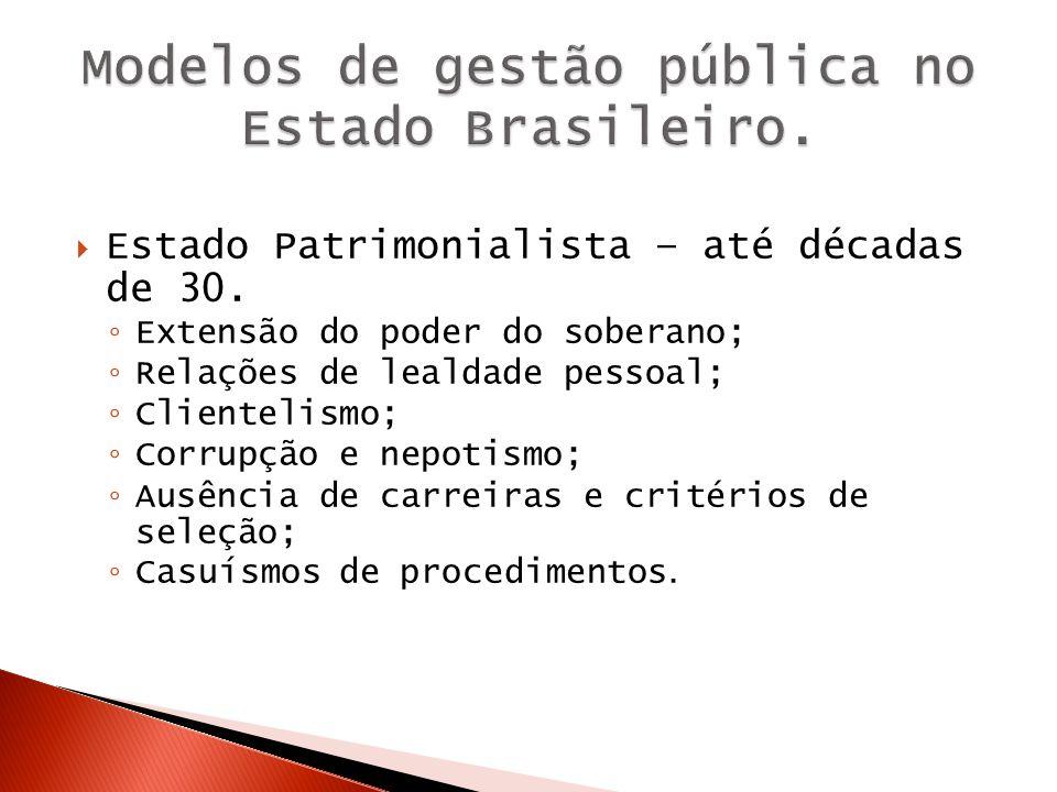 Modelos de gestão pública no Estado Brasileiro.