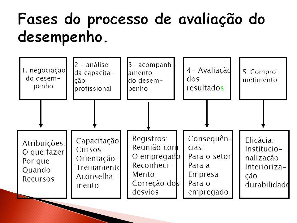 Fases do processo de avaliação do desempenho.