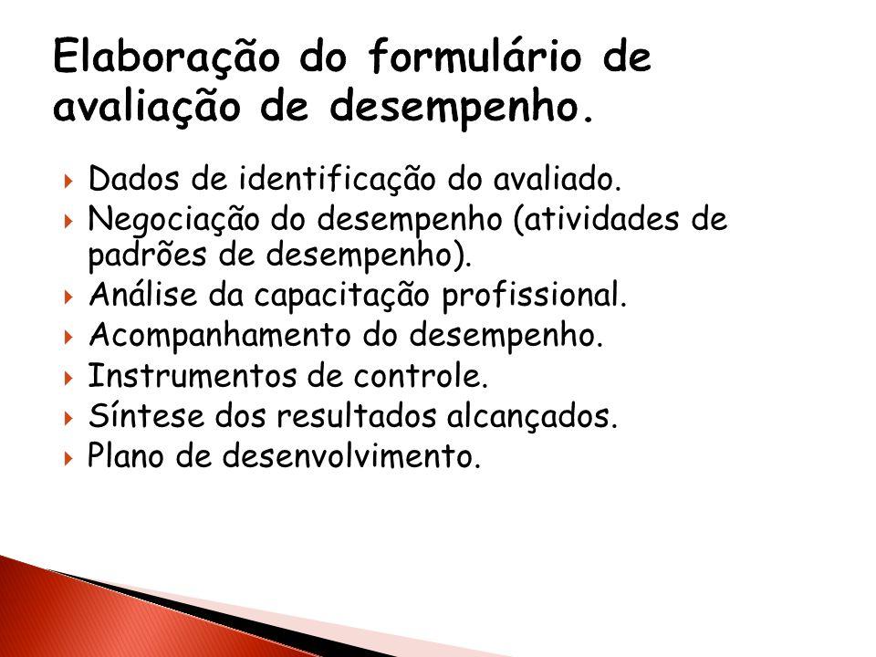Elaboração do formulário de avaliação de desempenho.
