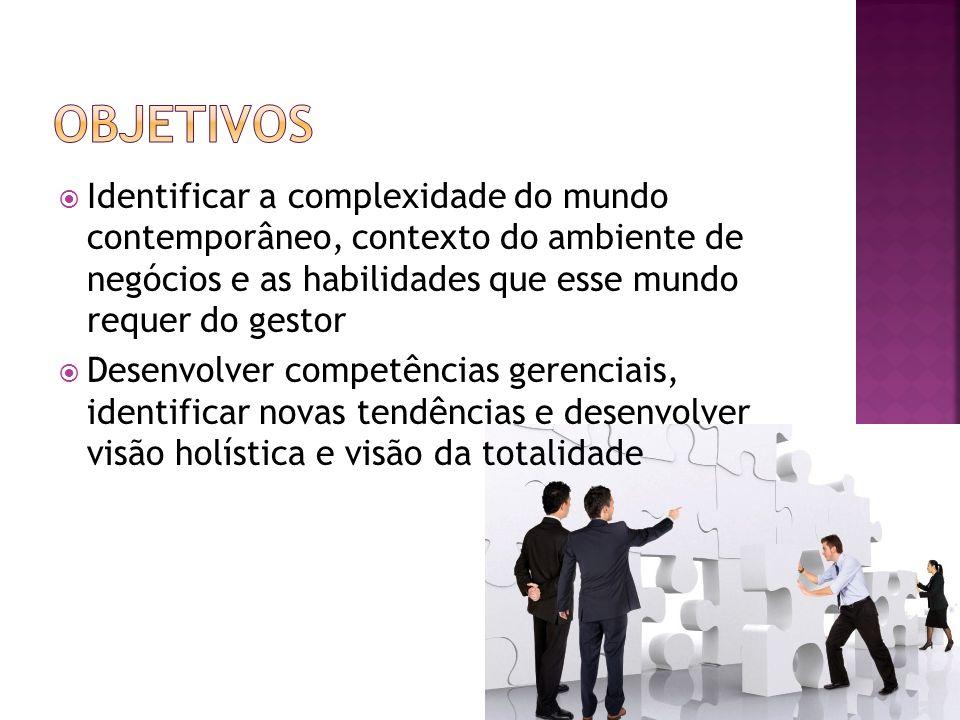 Objetivos Identificar a complexidade do mundo contemporâneo, contexto do ambiente de negócios e as habilidades que esse mundo requer do gestor.