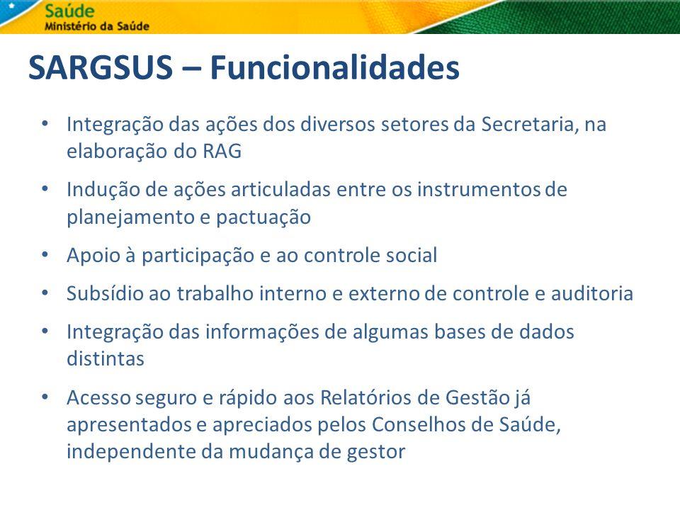 SARGSUS – Funcionalidades