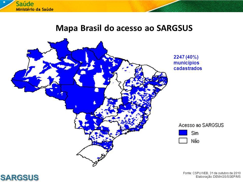 Mapa Brasil do acesso ao SARGSUS