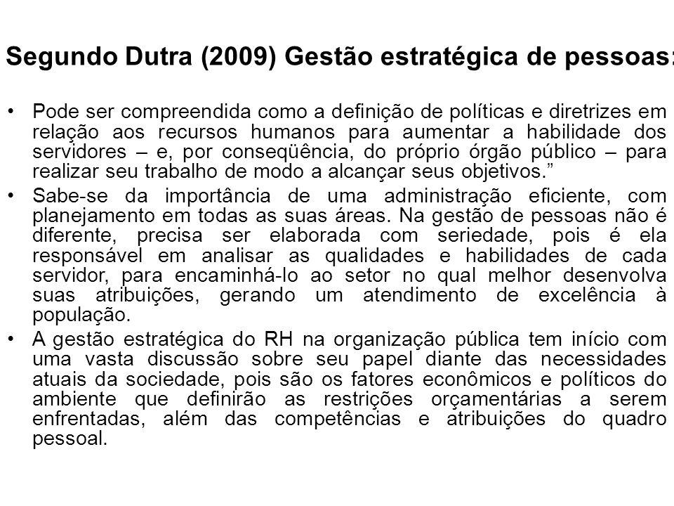 Segundo Dutra (2009) Gestão estratégica de pessoas: