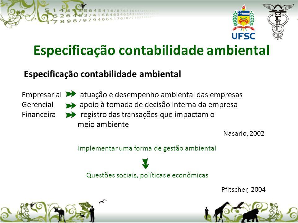 Especificação contabilidade ambiental
