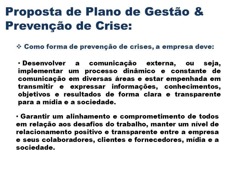 Proposta de Plano de Gestão & Prevenção de Crise:
