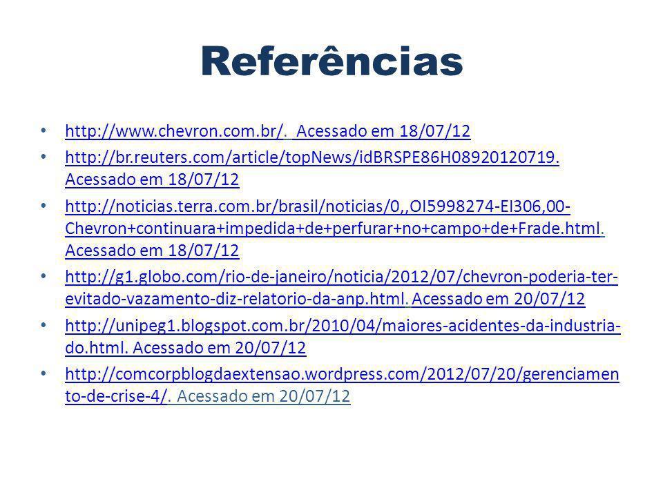 Referências http://www.chevron.com.br/. Acessado em 18/07/12