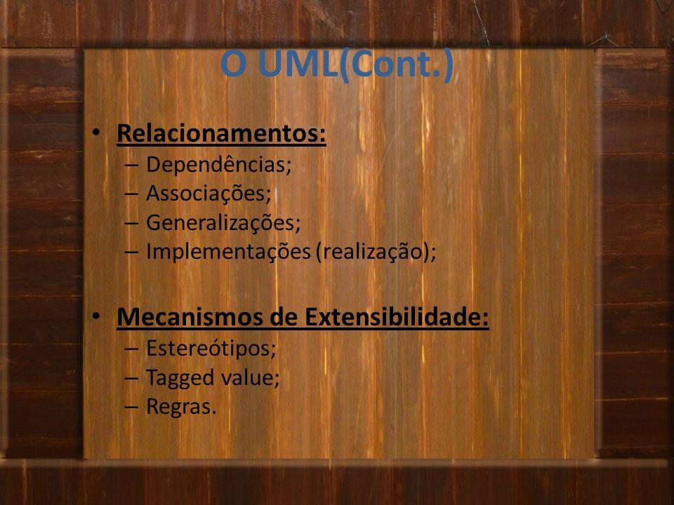 O UML(Cont.) Relacionamentos: Mecanismos de Extensibilidade: