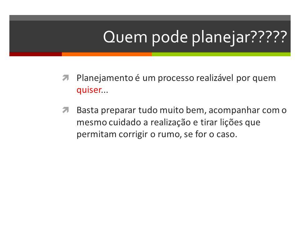 Quem pode planejar Planejamento é um processo realizável por quem quiser...