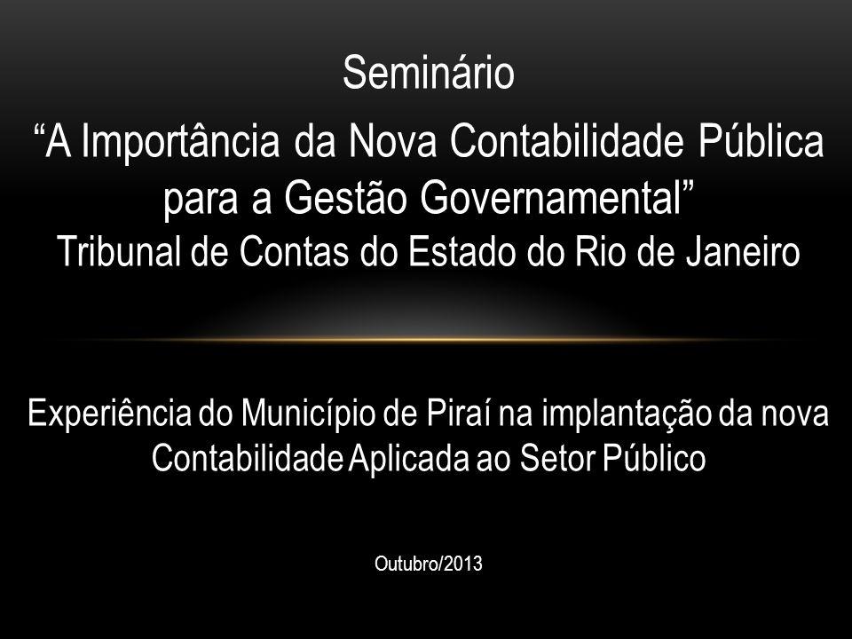 Seminário A Importância da Nova Contabilidade Pública para a Gestão Governamental Tribunal de Contas do Estado do Rio de Janeiro.