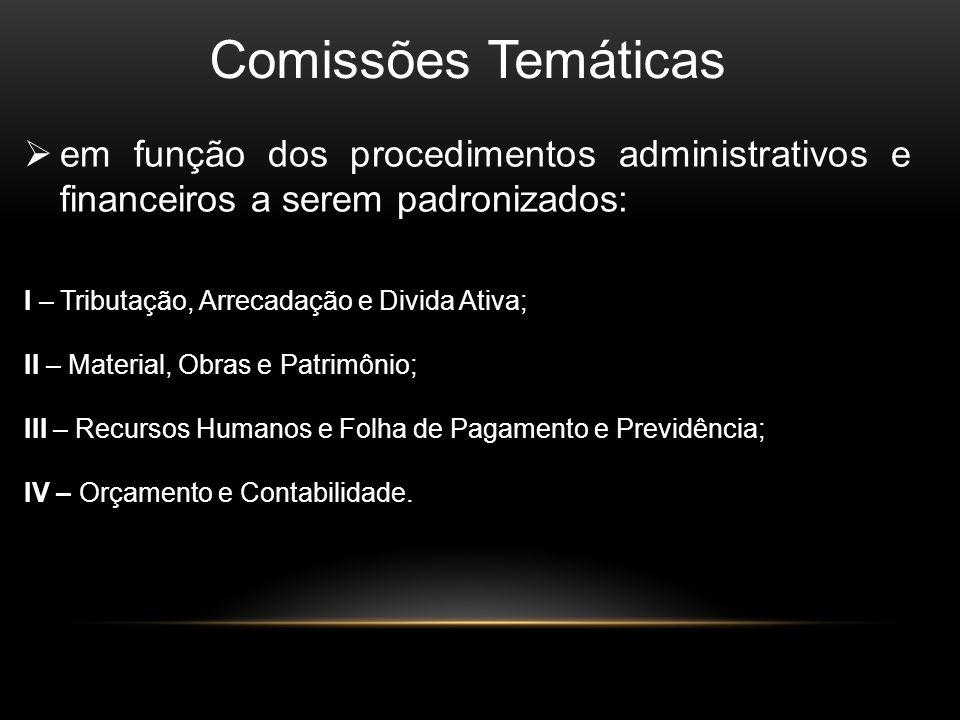 Comissões Temáticas em função dos procedimentos administrativos e financeiros a serem padronizados: