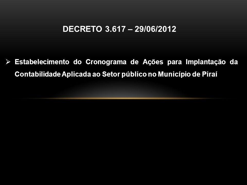 DECRETO 3.617 – 29/06/2012 Estabelecimento do Cronograma de Ações para Implantação da Contabilidade Aplicada ao Setor público no Município de Piraí.