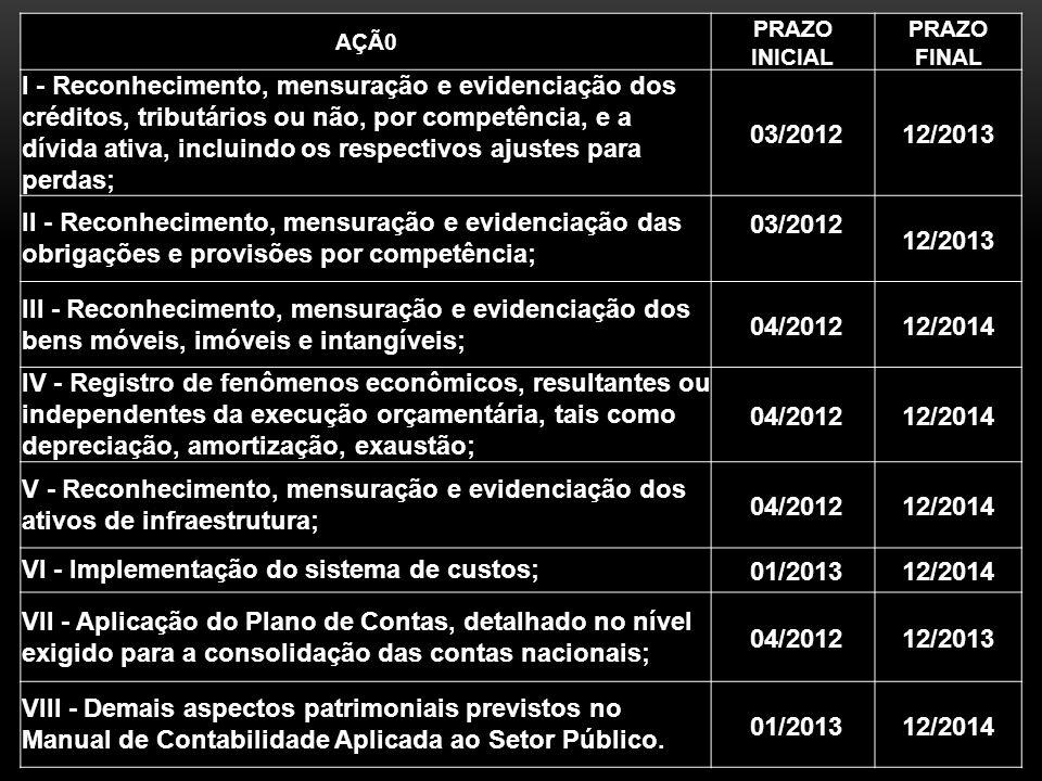 VI - Implementação do sistema de custos; 01/2013