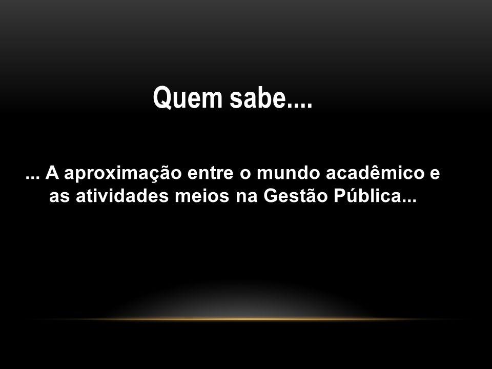 Quem sabe.... ... A aproximação entre o mundo acadêmico e as atividades meios na Gestão Pública...
