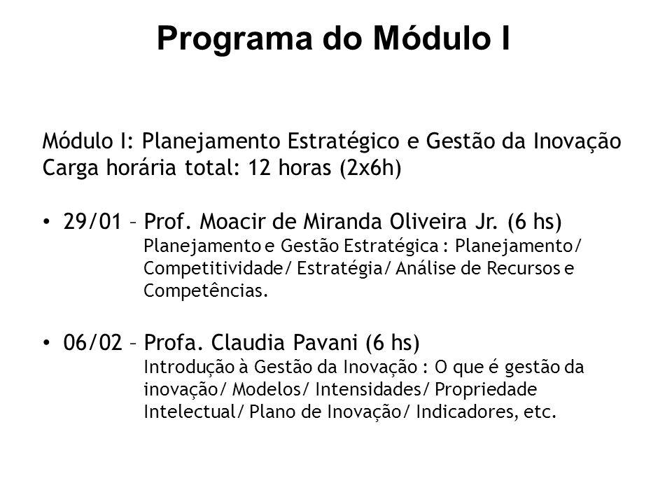 Programa do Módulo I Módulo I: Planejamento Estratégico e Gestão da Inovação. Carga horária total: 12 horas (2x6h)