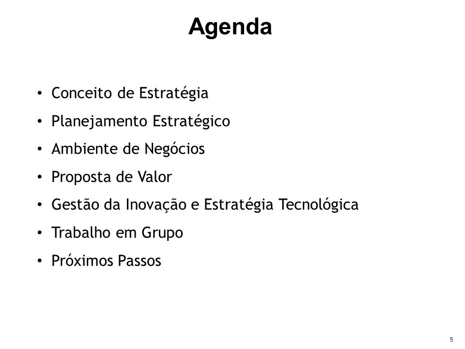 Agenda Conceito de Estratégia Planejamento Estratégico