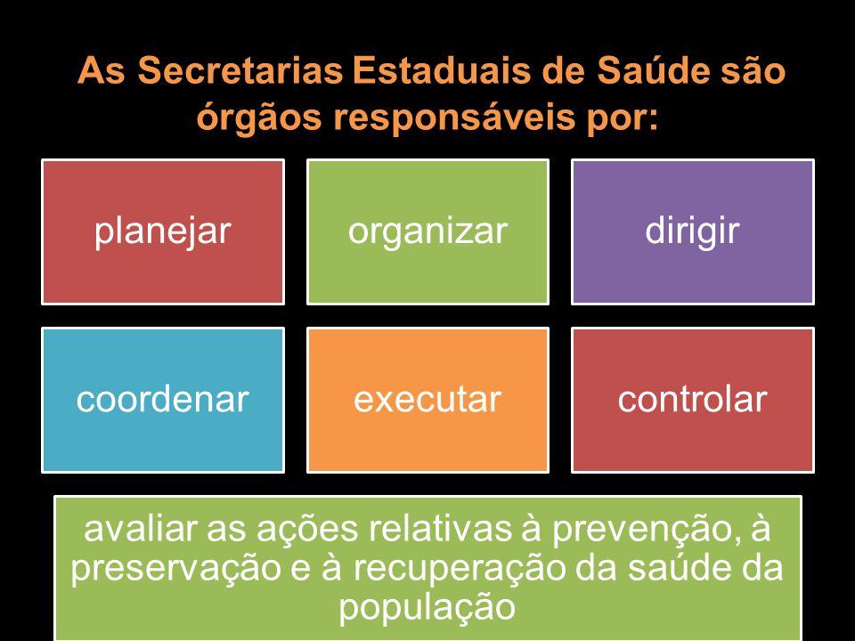 As Secretarias Estaduais de Saúde são órgãos responsáveis por: