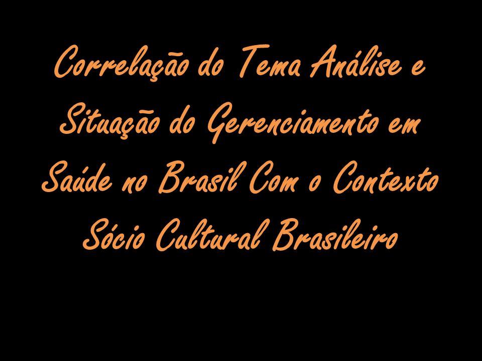 Correlação do Tema Análise e Situação do Gerenciamento em Saúde no Brasil Com o Contexto Sócio Cultural Brasileiro