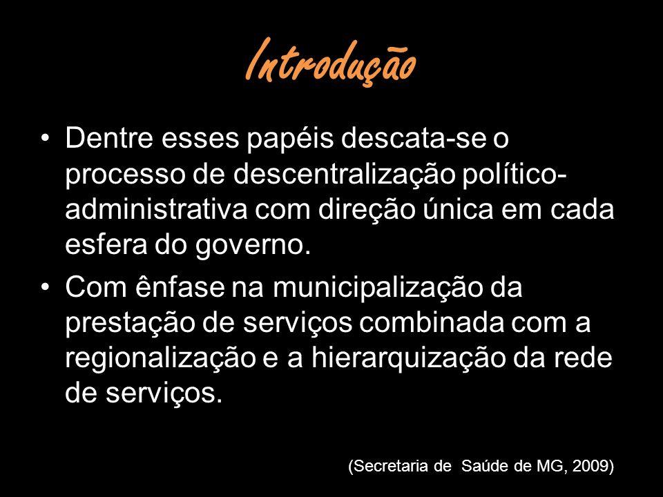 Introdução Dentre esses papéis descata-se o processo de descentralização político-administrativa com direção única em cada esfera do governo.