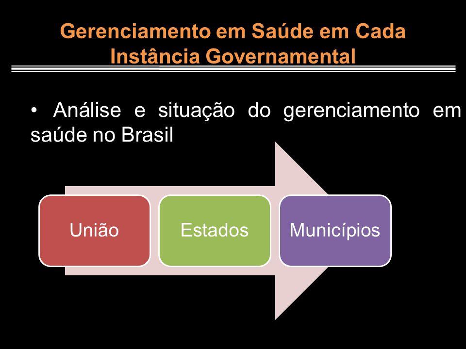 Gerenciamento em Saúde em Cada Instância Governamental