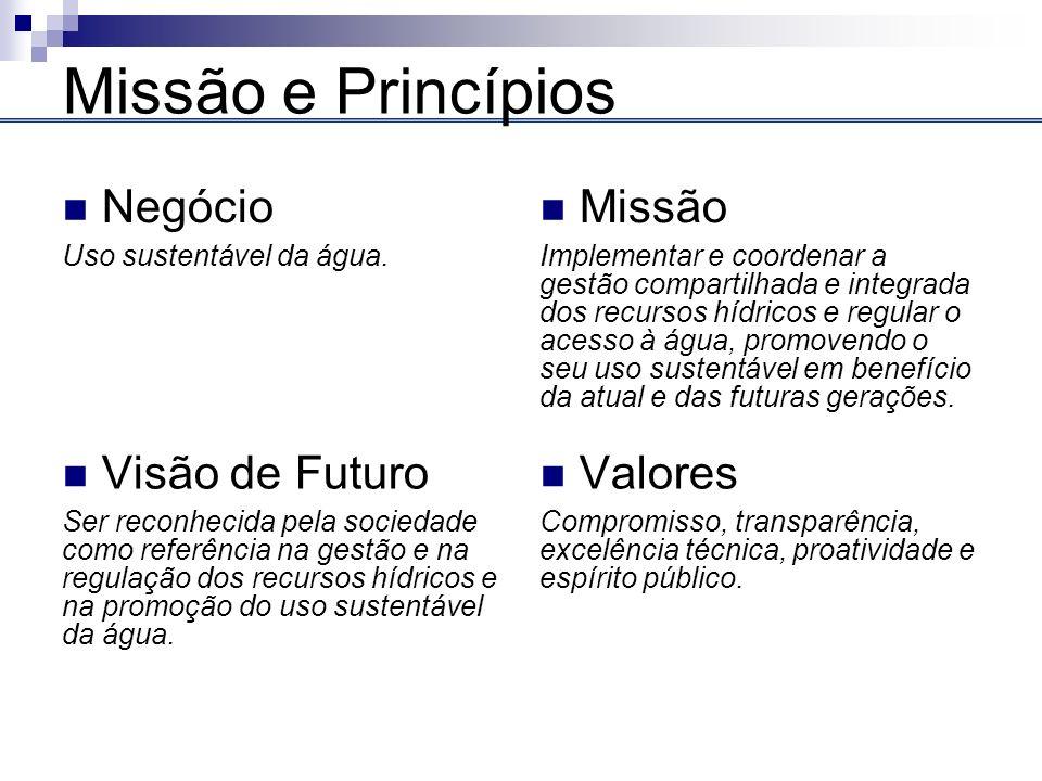 Missão e Princípios Negócio Missão Visão de Futuro Valores